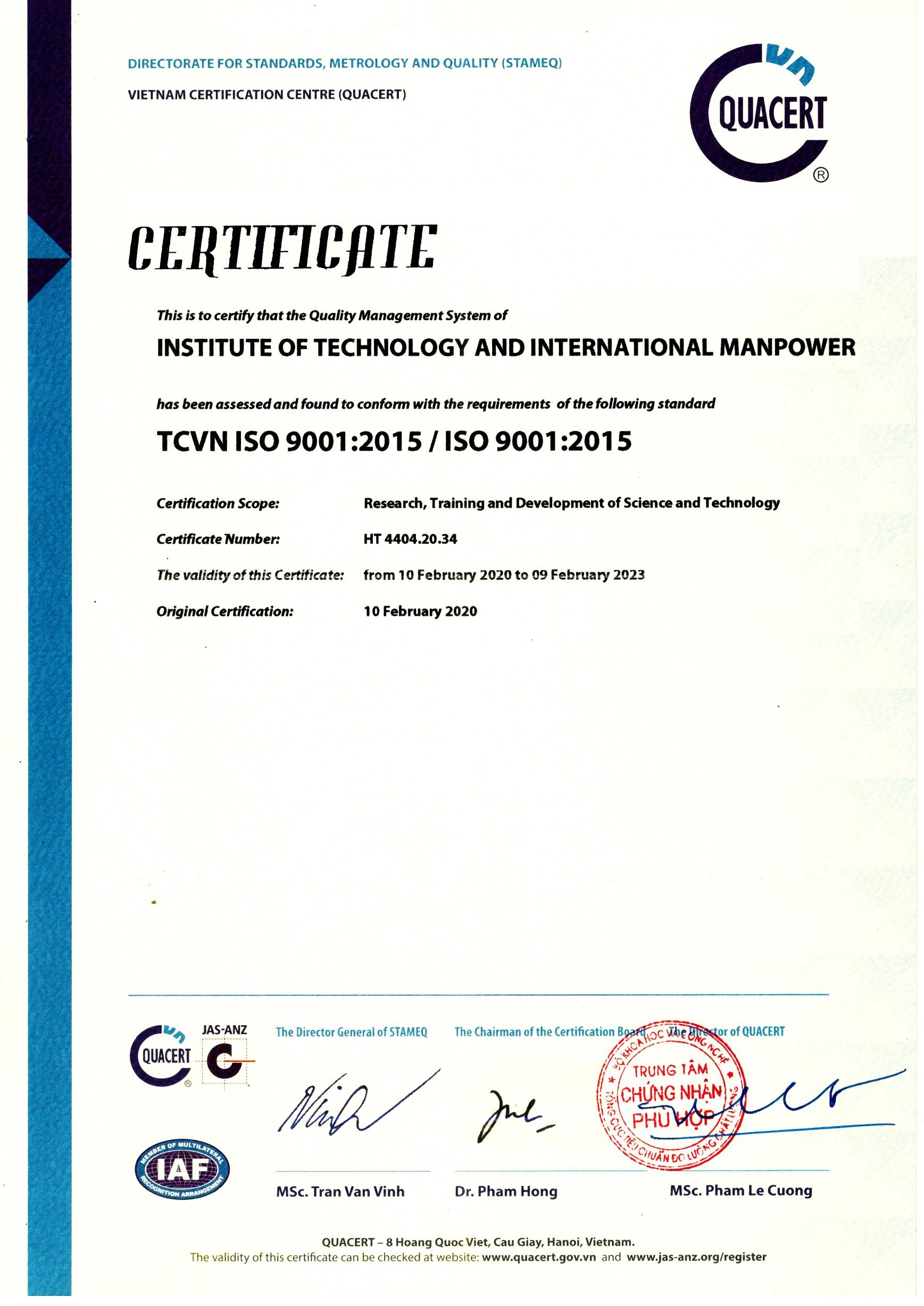 ITIM đón nhận Chứng nhận Hệ thống Quản lý Chất lượng ISO 9001:2015